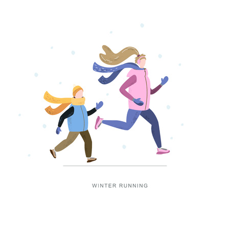 Young woman and child running in winter cold season wearing winter running clothes. Handdrawn vector illustration 写真素材 - 126930422