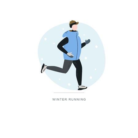 Young man running in winter cold season wearing winter running clothes. Handdrawn vector illustration