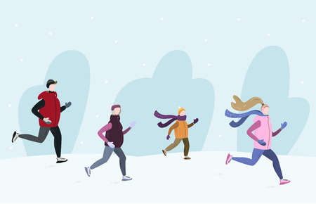 People running together outside in winter cold season wearing winter running clothes. Man, woman, child, old woman. Handdrawn vector illustration