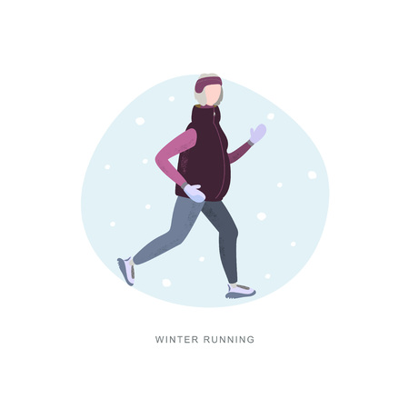 Old woman running in winter cold season wearing winter running clothes. Handdrawn vector illustration 写真素材 - 126844656