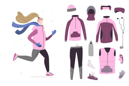 Illustration of young woman running in winter cold season with winter running gear. Handdrawn vector illustration