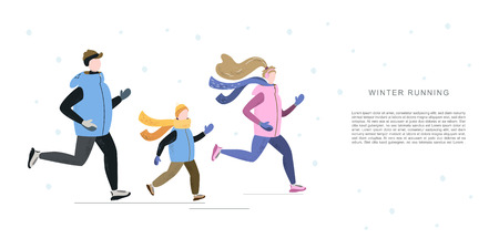Family man, woman and child running in winter cold season. Handdrawn vector illustration. Banner template with space for your text.
