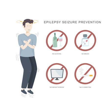 Epilepsy seizure pervention. Illustration of woman having seizure and set of icons how to avoid epilepsy seizure. Vector illustration.  イラスト・ベクター素材