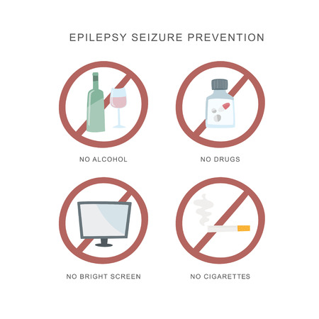 Epilepsy seizure pervention. set of icons how to avvoid epilepsy seizure. Vector illustration.