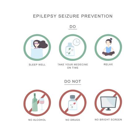 Epilepsy seizure pervention. Set of icons do and do not in order to avvoid epilepsy seizure. Vector illustration.