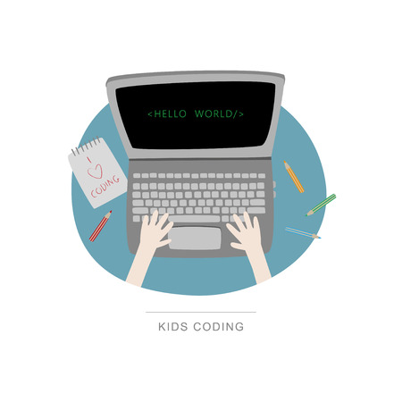 Top view of desk, laptop and coding kids hands. Workspace Handdrawn vector illustration.  イラスト・ベクター素材