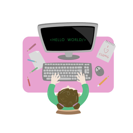 Girl sitting at her desk and coding with her laptop. Topview workspace vector illustration.. Kids coding. Topview workspace vector illustration.