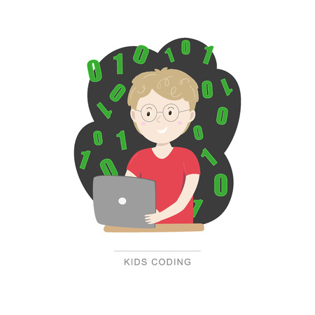 Kids coding. Small boy learning coding with his tablet. Vector illustration. Vector illustration isolated on white