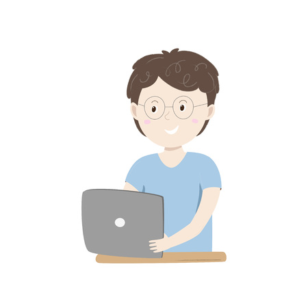 Kids coding. Small happy boy holding his tablet. Vector ilustration isolated on white