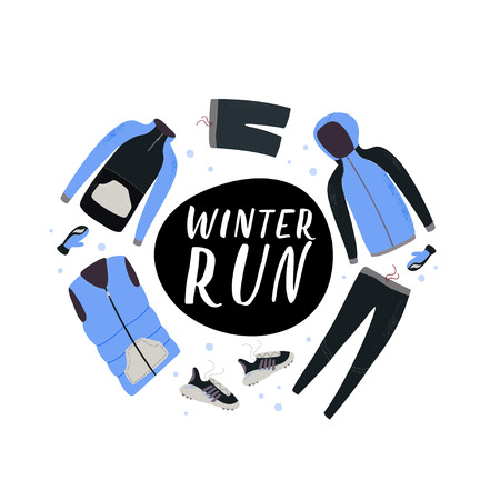 Winter running gear. Set of winter clothes and accessories for running. Vector hand drawn illustration.