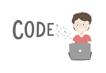 Kids coding. Little boy coding on his laptop with text code and coding numbers around. Vector ilustration isolated on white backgriound.