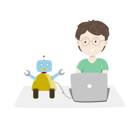 Little boy sitting at his desk and coding with her computer making and programming cute robot. Kids coding Vector illustration.