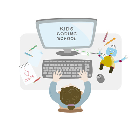 Girl sitting at her desk and coding with her computer making and programming a robot. Kids coding. Topview workspace vector illustration.  イラスト・ベクター素材