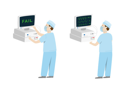 Medical equipment befor and after maintenance. Man setting up medical monitor with fail and repair it. Vector illustration isolated on white  イラスト・ベクター素材