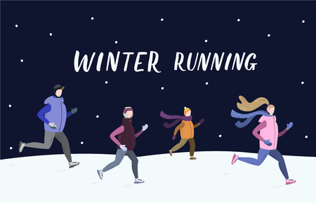 People running together outside in winter cold season in the evening wearing winter running clothes. Man, woman, child, old woman. Handdrawn vector illustration with winter running hand lettering