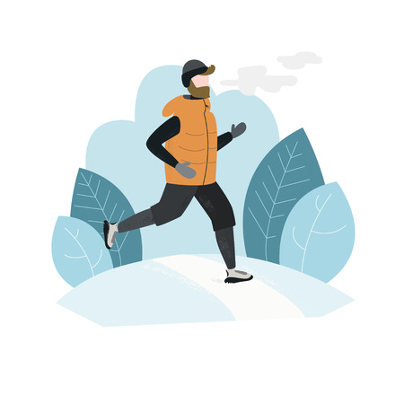 Man running outside in winter cold season wearing winter running clothes. Handdrawn vector illustration Vectores