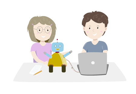 Little girl and boy making and programming cute robot on their laptop. Kids coding Vector illustration.