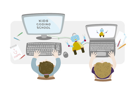 Little girl and boy programming a robot on their computers. Kids coding. Topview workspace vector illustration.