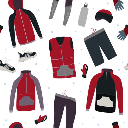 Winter running gear seamless pattern. Winter clothes and accessories for running. Hand drawn vector illustration. 写真素材 - 126213439