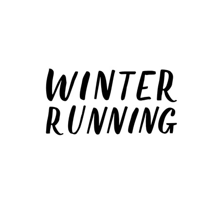 Winter running hand lettering. Hand drawn Vector illustration isolated on white  イラスト・ベクター素材