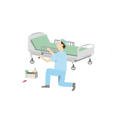 Medical equipment maintenance. An technician wearing uniform repair hospital bed. Vector illustration isolated on white  イラスト・ベクター素材