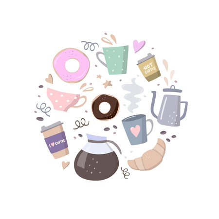 Round composition with coffee illustrations. Coffee to go, coffee pots, cups,croissant, cookie and design elements. Handdrawn vector illustration on black background