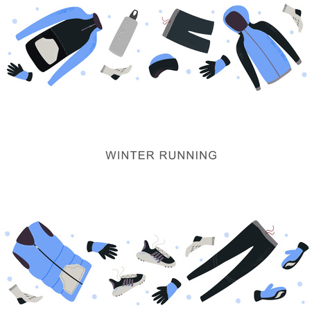 Winter running banner template with space for your text. Winter running gear hand drawn vector illustration. 写真素材 - 126049490