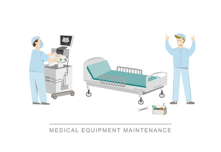 Broken hospital bed befor and after maintenance. A technician wearing uniform repairs hospital bed. Vector illustration isolated on white