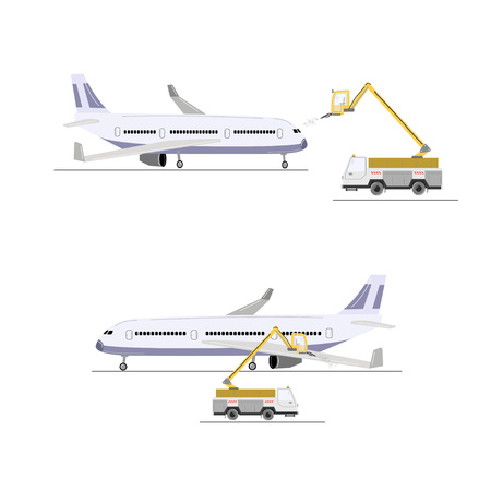 Aircraft deicing. Deicer truck and airplane vector illustration isolated on white. 向量圖像