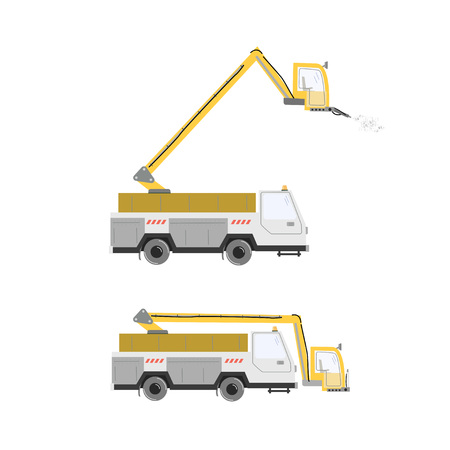 Set of aircraft deicer trucks. Deicing airplane. Vector illustration isolated on white.