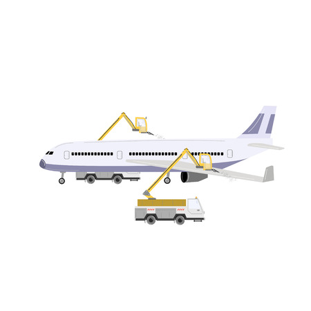 Aircraft deicing. Deicer trucks and airplane vector illustration isolated on white.