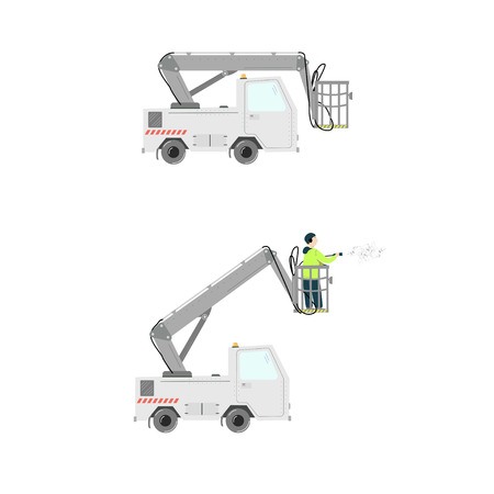 Aircraft deicer truck. Deicing airplane. Vector illustration isolated on white.  イラスト・ベクター素材