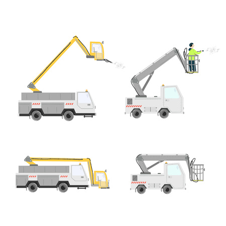 Set of different aircraft deicer trucks. Deicing airplane. Vector illustration isolated on white.  イラスト・ベクター素材