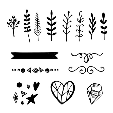 Set of 15 hand drawn black vector decorative elements for your design. Leaves, floral elements, heart, diamond, swirl