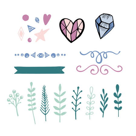 Set of hand drawn vector decorative elements for your design. Leaves, floral elements, heart, diamond, swirl  イラスト・ベクター素材