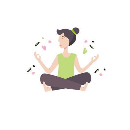 Happy girl doing yoga exercise. Vector illustration with design elements. Banner template.