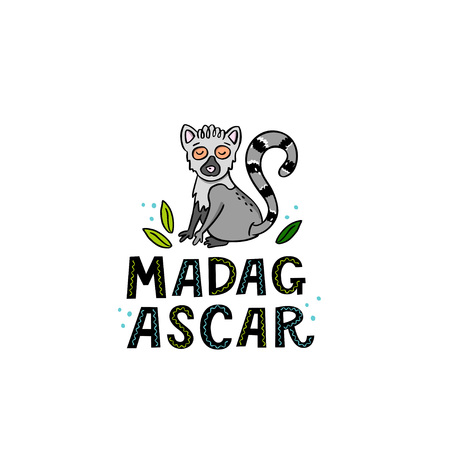 Madagscar hand written word with funny lemur and design elements. Vector illustration  イラスト・ベクター素材