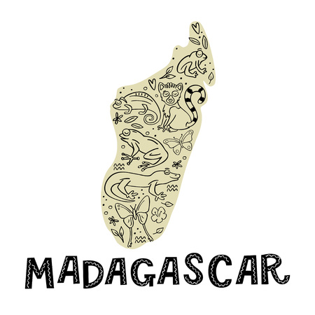 Madagascar map with doodle animal and Madagascar handlettering word. Frog, chameleon, butterfly, gekko, lemur. Hand drawn vector illustration. Stock Illustratie