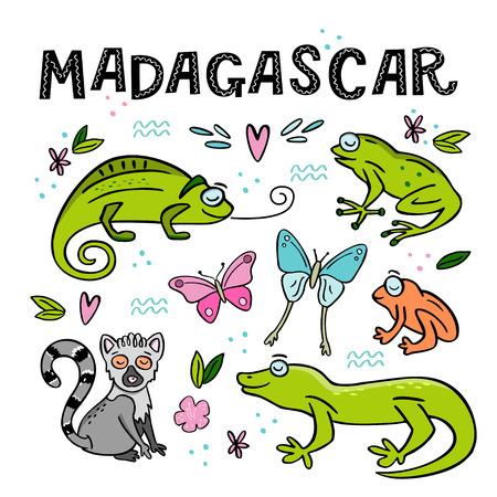 Set of Madagascar animals. Hand drawn vector illustration  イラスト・ベクター素材