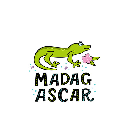 Madagscar hand written word with funny gekko and design elements. Vector illustration  イラスト・ベクター素材