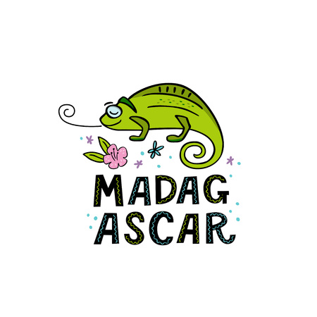 Madagscar hand written word with funny chameleon