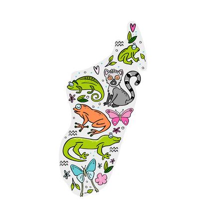 Madagascar map with animals of Madagascar drawn on it. Frog, chameleon, butterfly, gekko, lemur. Hand drawn vector illustration.  イラスト・ベクター素材