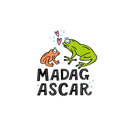 Madagscar hand written word with two funny frogs and design elements. Vector illustration