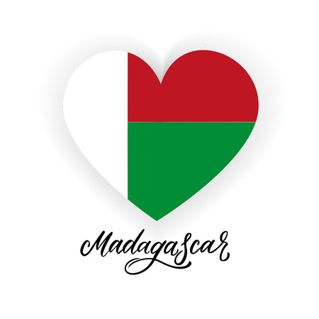 Flag of Madagascar in shape of heart with Madagascar handlettering. Vector illustration  イラスト・ベクター素材