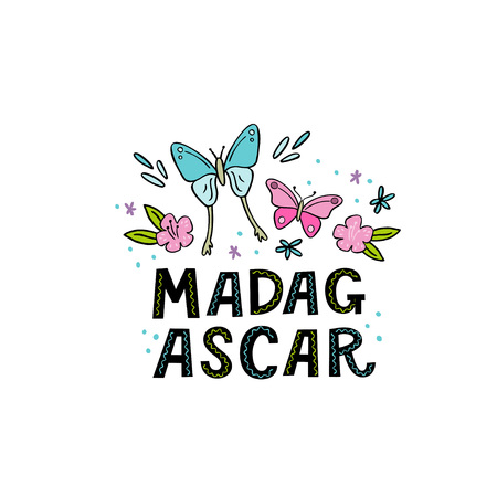 Madagscar hand written word with funny butterflies and design elements. Vector illustration