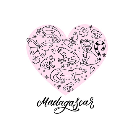 Set of Madagascar animals in a heart composition. Frog, chameleon, butterfly, gekko, lemur. Hand drawn vector illustration with design elements and hand lettering Madagascar word.  イラスト・ベクター素材
