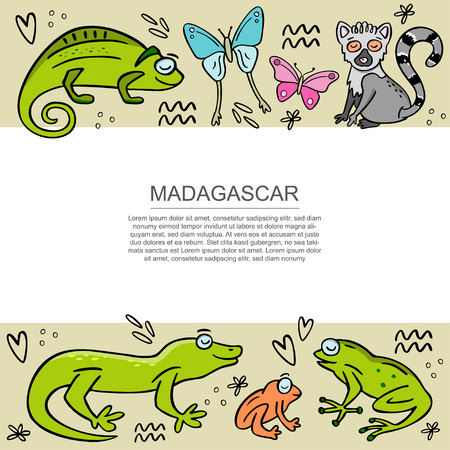 Banner template with set of cute handdrawn Madagascar animals. Frog, chameleon, butterfly, gekko, lemur. Hand drawn vector illustration with design elements and space for your text