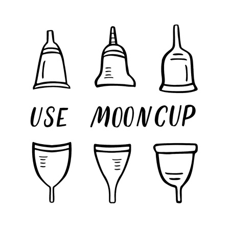 Set of menstrual cups. Period cup. Doodle vector illustration with lettering isolated on white