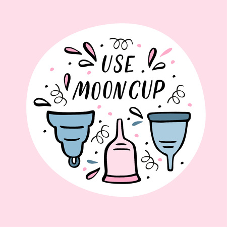 Vector illustration of Period cup with handdrawn design elements. Round composition with hand lettering and rose background  イラスト・ベクター素材