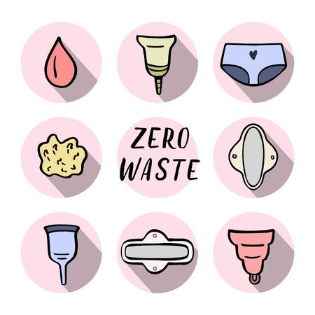 Zero waste women hygiene icons. Hand drawn vector illustration.